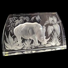 Etched Clear Czech Crystal Prismatic Art Glass Rhinoceros  in Forest by Exbor