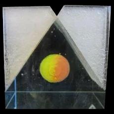 Holograph Art Glass Space Modern Sphere & Sawn Cube Sculpture Kapka Touskova
