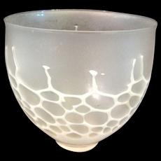Very Delicate Flamework Bowl Signed Translucent Fog & White Honeycomb Art Glass