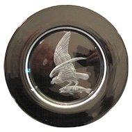 "Steuben Wheel Engraved Osprey Bird w/Fish Catch Dinner Plate Audubon 10"" 1940's"