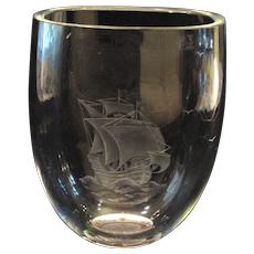 Orrefors Clear Art Glass Vase w/Etched Sailing Boat Ship Motif Century Modern
