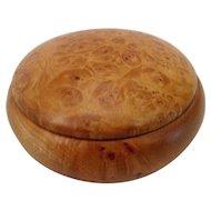 Artisan Turned Burl Round Wood Trinket Box w/Lid David M. Fry Maryland