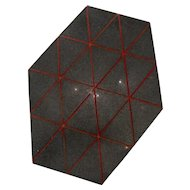 Modern Geometric Art Granite Unequal Hexagon w/Red Lines Sculptural Plaque Mishi