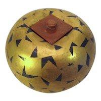 Sweden Art Pottery Paul Hoff Gustavsberg Gold Geometric Pot w/Lid Exquisite