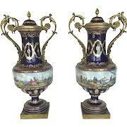 Antique 19th Century COBALT Bleu de Roi Gilt BRONZE Lidded Urn Vase Mariport Set