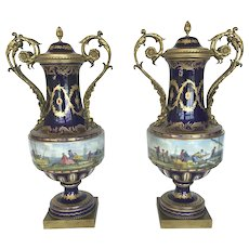Antique 19th Century COBALT Bleu de Roi Gilt BRONZE Lidded Urn Vase Mariport Set