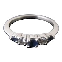 Very Sweet Blue SAPPHIRE Diamond 14k White GOLD September Birthstone Virgo Ring