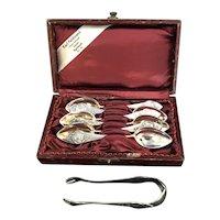 Antique ART NOUVEAU 800 Silver 7pc Teaspoon & Sugar Tong Set FAIRY Design w/Case