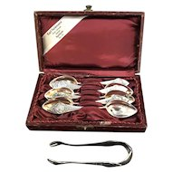 Antique ART NOUVEAU 800 Silver 7pc Teaspoon & Sugar Tong Set FAIRY Design w/Case
