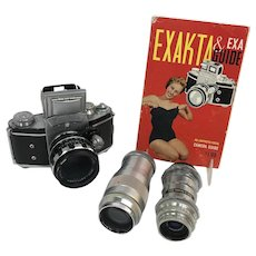 VINTAGE Mod German Exakta Vx 35mm CAMERA w/Extra Lenses & Book Ihagee Dresden