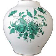 "Augarten WIEN Austria White Hand Painted Green Floral Porcelain 10"" Tall Vase"