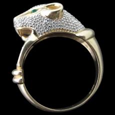 CLYDE DUNEIER CID 14k Gold Leopard PANTHER Leopard Cat Head Door Knocker Sapphire Diamond Emerald Ring