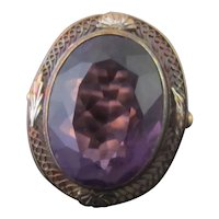 Antique VICTORIAN 14k Rose Gold Purple AMETHYST Filigree Statement Ring Size 7
