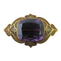 Antique VICTORIAN 14k Rose Gold Purple AMETHYST Filigree Brooch Pin
