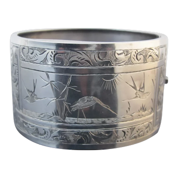 Antique VICTORIAN 1901 STERLING Silver Cuff Bangle Bracelet Engraved with BIRDS