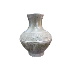 """Large ANTIQUE Chinese LION Han Dynasty? YUE WARE 15"""" Tall Jar Pottery Vase"""