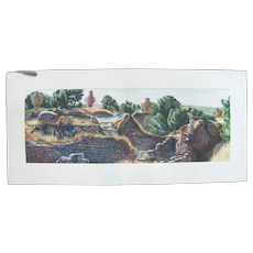 """Cartoons of Cyprus watercolor painting on paper (2 separate sheets attached to board), Troy Wall VI by Anne Glynnis Fawkes. Each painting measures 12"""" x 8 1/2""""."""