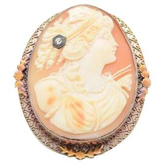 Art Nouveau Habille Cameo Brooch with Old European Cut Diamond