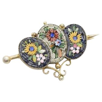 Victorian Micromosaic Brooch in Silver