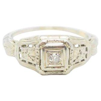 18K White Gold and Diamond Art Deco Ring