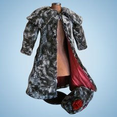 "Antique Faux Fur DOLL COAT &  BONNET SET for 24""-26"" French or German BEBE"