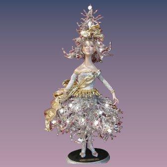 """Christmas Tree Doll Light #1'Jolie Noel'  by artist Bill O'Connor_Unique 28"""" tall_Original Art Doll Light_"""