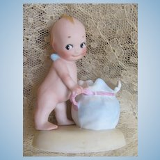 Thank You 'S'_KEWPIE with Blue Bag_Original Rosey O'Neill_All Bisque_Made in Germany!