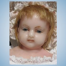 """Thank you 'R'_21"""" poured Wax Baby Doll _ mid to late 19th century_England Marked """"H.J. Meech"""" stamped on body"""