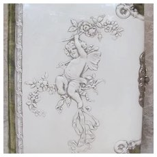 Thank you 'D'_Victorian Celluloid Photo Album_31 photos & tin type_embossed cherub with wings and roses & Velvet