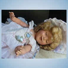 "Thank you 'L'_Shirley Temple 'The World's Darling' 21"" Doll in Original Pink Organdy Outfit_ADORABLE!"