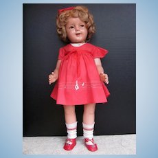 "Thank you 'J'_FLIRTY EYES_25""_Shirley Temple Composition Doll_Musical Notes on Red Dress"