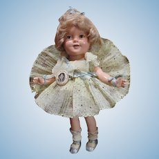 "Outstanding 13"" Shirley Temple Doll in Original Outfit in a RARE Color_Great Cabinet Size!"