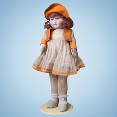 """Thank you 'P'_Adorable 18"""" English Chad Valley Girl_REDHAIR_all Original with button and tag_Circa 1920s_MADE IN ENGLAND"""