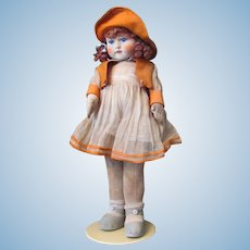 "Thank you 'P'_Adorable 18"" English Chad Valley Girl_REDHAIR_all Original with button and tag_Circa 1920s_MADE IN ENGLAND"