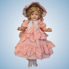 "Thank you 'L'_Shirley Temple 20"" 'The World's Darling' Doll in Taffeta Outfit & Bonnet_ADORABLE! Circa 1930's"