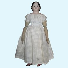 """Thank you 'M'_24"""" Greiner American Paper Mache Doll Circa 1858_individual stitched fingers/EXPOSED EARS"""