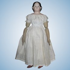 "Thank you 'M'_24"" Greiner American Paper Mache Doll Circa 1858_individual stitched fingers/EXPOSED EARS"