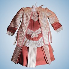 """Thank you 'X'_Stunning 2pc Pin Strip & Solid Fabric Silk Dress for 22"""" Bebe Doll"""