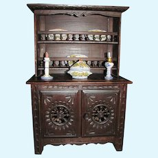 Thank you 'P'_French Brittany Furniture Stepback Doll Hutch/Cabinet/With Italian Dishes
