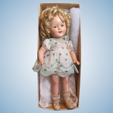 "Thank you 'L'_Shirley Temple w/box 16"" 1930's Composition Doll_Very Nice"