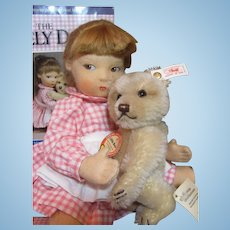 """Adorable FELT 14"""" Edith THE LONELY DOLL and Steiff Little Bear and Book_"""