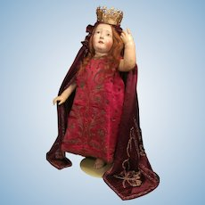"Thank you 'F'_25"" CRECHE child standing wood doll_"