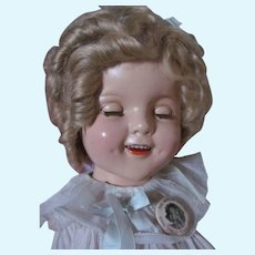 """Thank you 'L'_Original Shirley Temple 22"""" Composition Doll_NO CRAZING_1930's_The cutest DIMPLES..."""