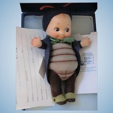 "Thank you 'R'_""Peeper"" Kewpie Bug _ R. John Wright_Felt fully jointed doll_Date of Release 2001_ Ltd. Ed. 076/250."
