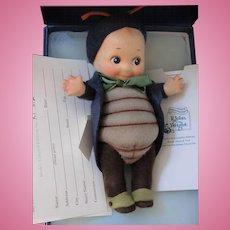 "Thank you 'R'_""Peeper"" Kewpie Bug _ R. John Wright_Felt fully jointed doll_Date of Release 2001_ Ltd. Ed. 076/250."