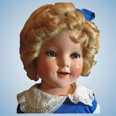 "Thank you 'L'_18"" Shirley Temple Composition Doll Circa 1935 w/orig.Pin_"