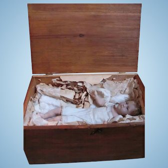 Baby Jesus Poured Wax Shoulder Head Doll_ Rooted hair...Glass Eyes...