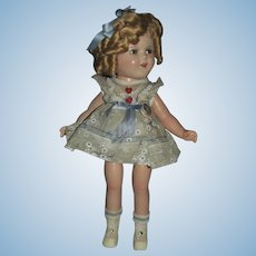 Thank you 'L'_Shirley Temple in RARE 'Hearts Dress' 1930's Composition Doll_All Original_15inches