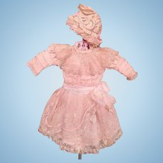 """Thank You 'H'_Babe Dress for 20"""" French or German Doll w/matching Bonnet_"""