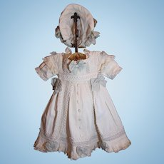 Thank you 'T'_French Bebe Dress to fit 29-30inch Bebe Doll_Bebe Doll DRESS and Bonnet only.